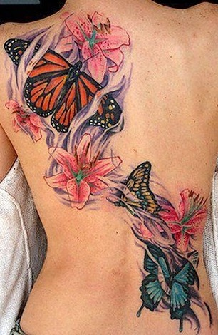 984efbfe8bce6 Butterfly Tattoo with Orchids - Design of TattoosDesign of Tattoos