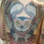 Back owl tattoo by Jason Tucker
