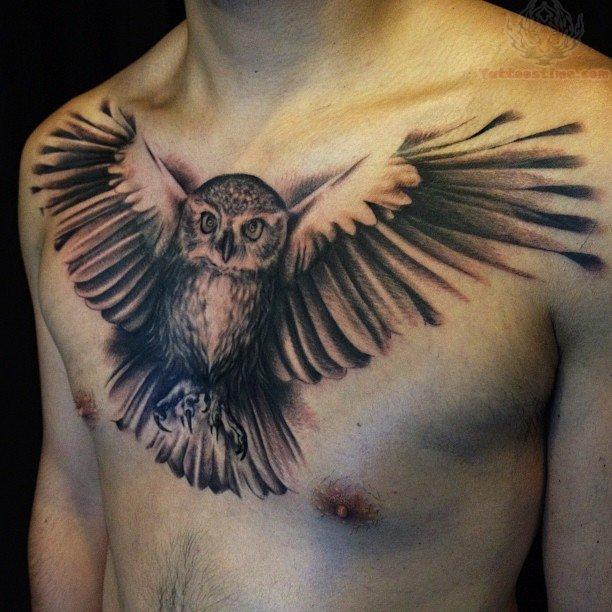 2acd385ab Chest owl tattoo design - Design of TattoosDesign of Tattoos