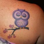 Cute owl tattoo in purple