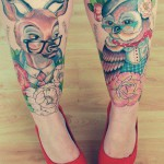 Tattoo with owl and deer