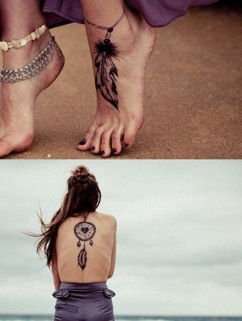 Foot dreamcatcher tattoo
