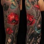 full sleeve hummingbird tattoo