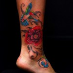leg hummingbird tattoo design