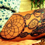Leg dreamcatcher tattoo design