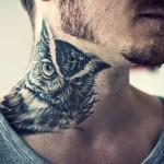 Neck owl tattoo