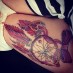 Dreamcatcher and red bow tattoo