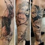 koi fish and geisha tattoo comic design
