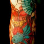 full sleeve geisha tattoo design