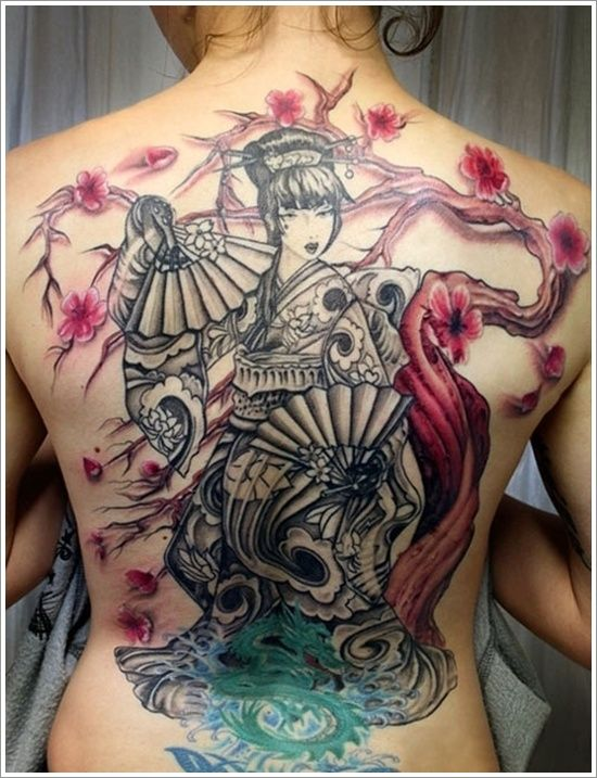cherry blossom and geisha tattoo - Design of TattoosDesign of Tattoos