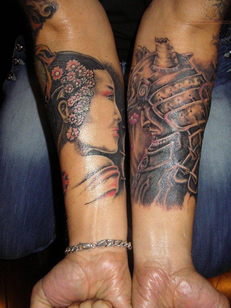 tattoo with geisha and samurai
