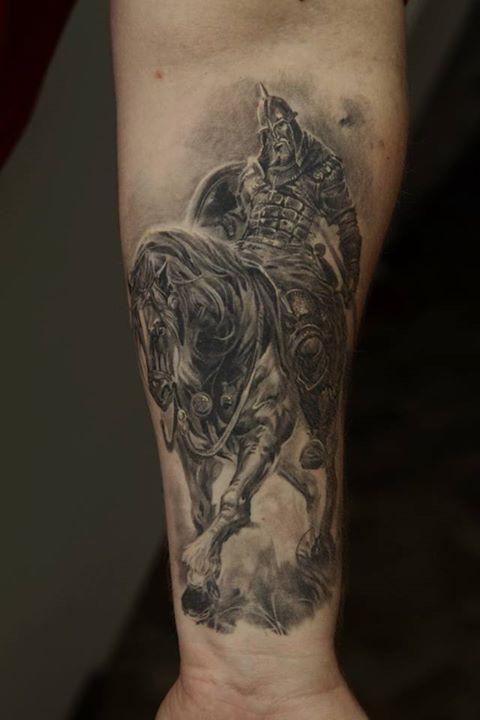 Horseman Warrior Tattoo by Dmitriy Samohin