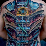 colorful biomechanical back tattoo