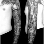skull biomechanical tattoo design