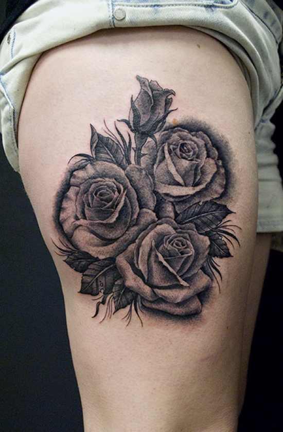 3d rose tattoo design