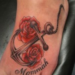 anchor and red rose tattoo design