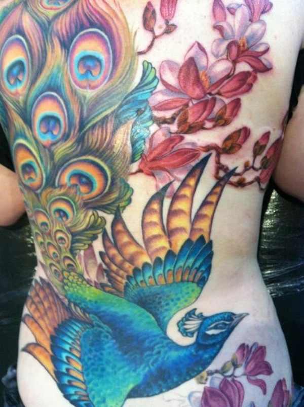 awesome fullback peacock tattoo design