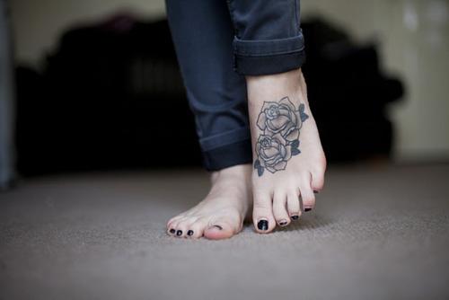 black rose tattoo design on feet