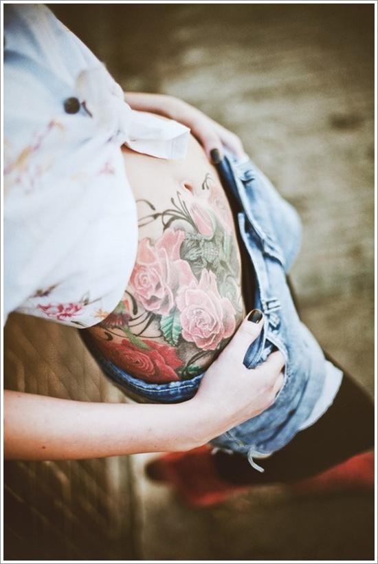 colorful rose tattoo design