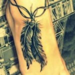 foot feather tattoo design