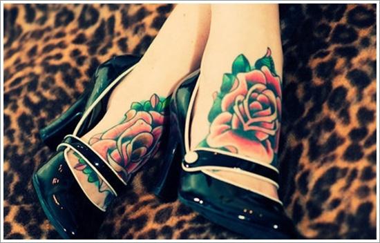 leg rose tattoo attractive design