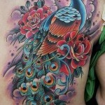 fullback peacock tattoo design in colors