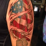 fullsleeve military tattoo design