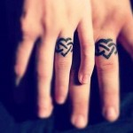 hearts and infinity wedding ring tattoo design