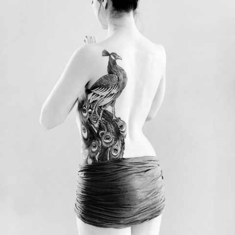 lovely back peacock tattoo design