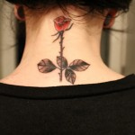 neck rose tattoo design