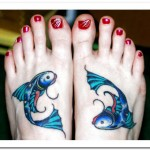 feet pisces zodiac tattoo