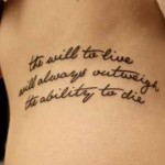 quote tattoo design on rib