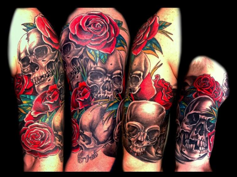 skull and rose tattoo design on sleeve
