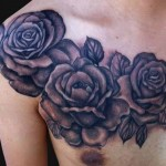 chest rose tattoo