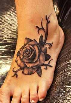 feet rose tattoo