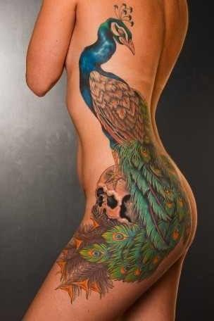 Mike Rubendall peacock tattoo design