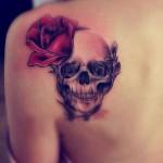 back skull and rose tattoo design