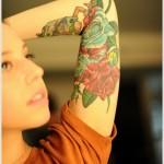 halfsleeve rose tattoo design