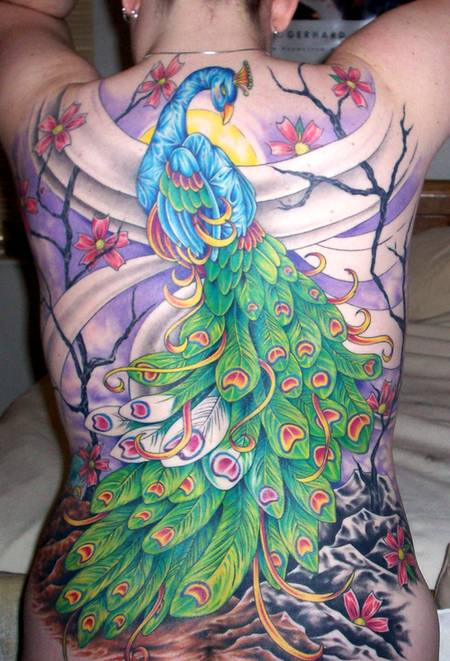 stunning fullback peacock tattoo design