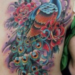 traditional fullback peacock tattoo