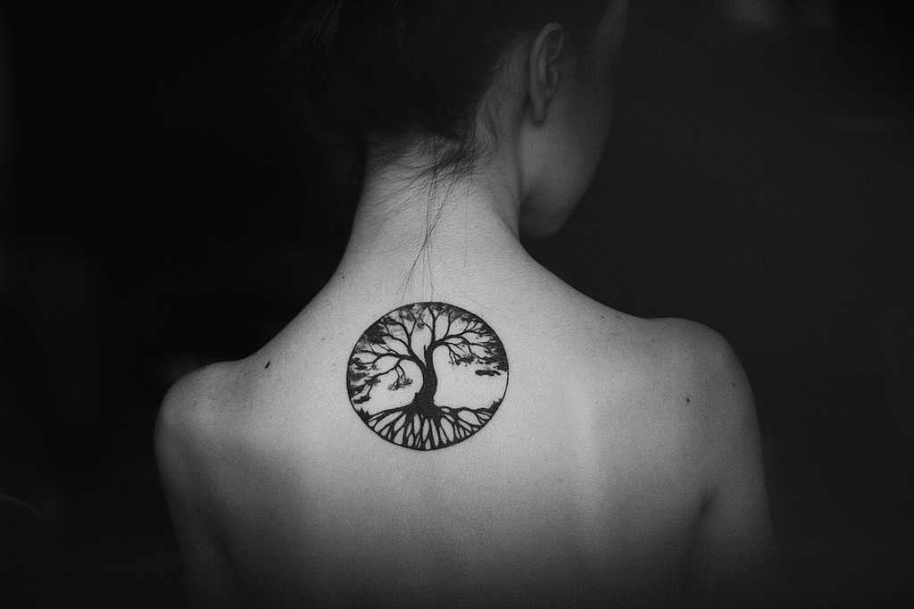 small tree of life tattoo design on back