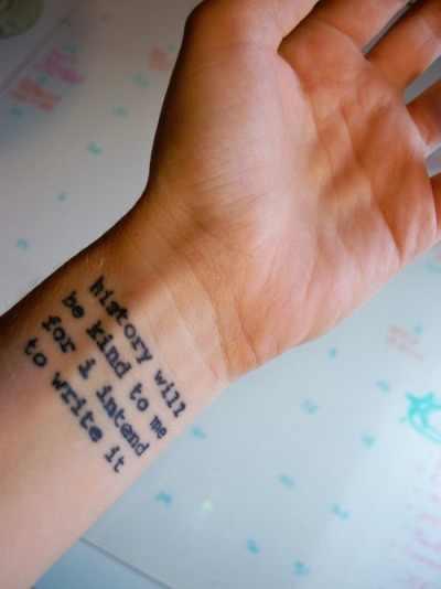quote tattoo on wrist