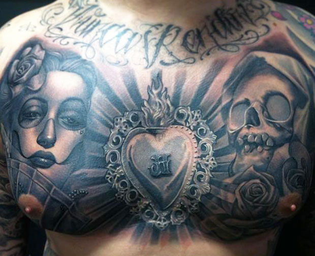 amazing chest tattoo by carlos torres design of