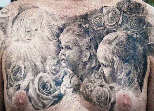 Carlos Torres children portrait on chest tattoo