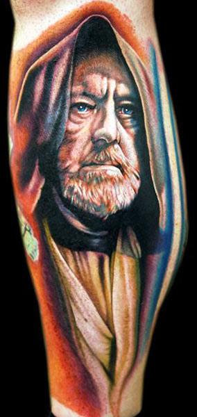 Cecil Porter colorful portrait tattoo design