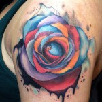 Andres Acosta colorful rose tattoo