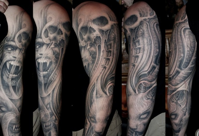 evil full sleeve tattoo by paul booth design of