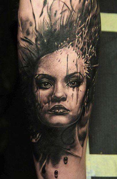 Andy Engel full sleeve portrait tattoo