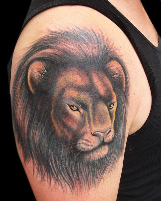 d67f1f120 lion face tattoo for men - Design of TattoosDesign of Tattoos