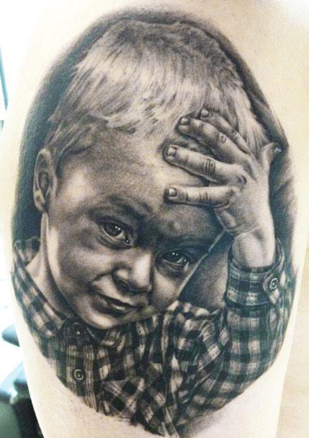 Andy Engel little boy portrait tattoo